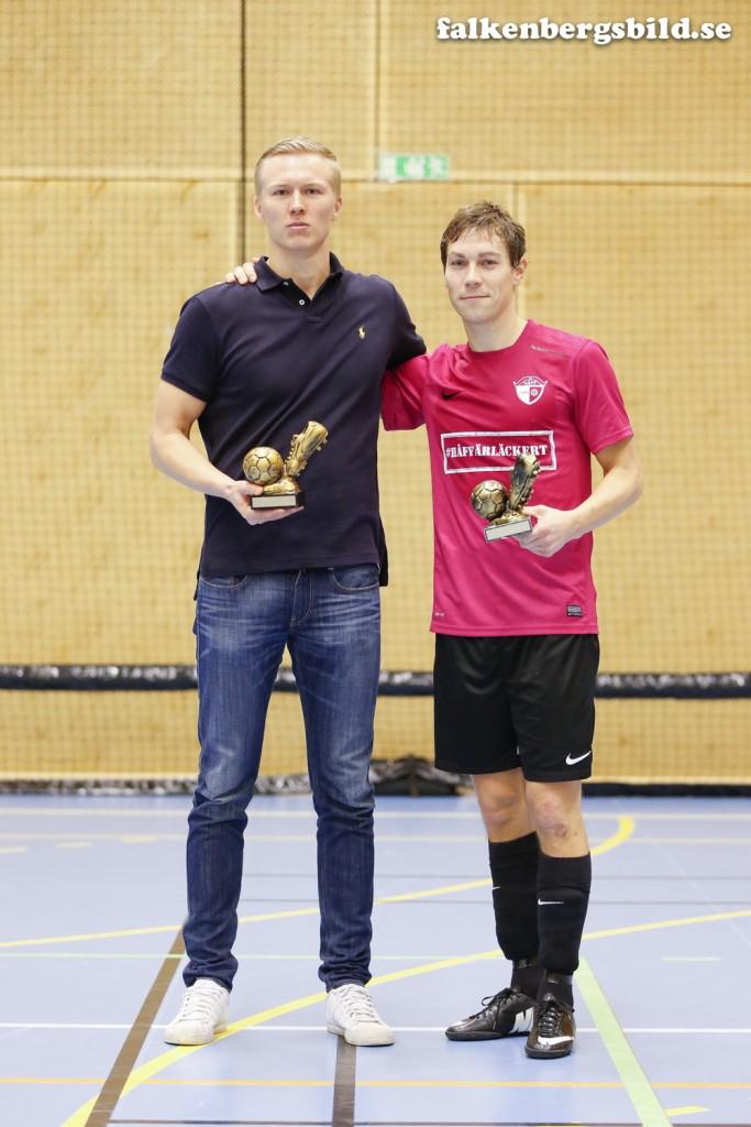 Turneringens skyttekung, Jacob Gunnarsson, Långås/Morup IF och turneringens lirare Daniel Alexandersson, HÅFF.